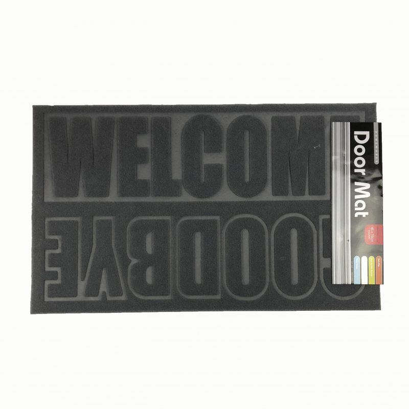 "45 x 75cm Doormat Grey ""Welcome Goodbye"""