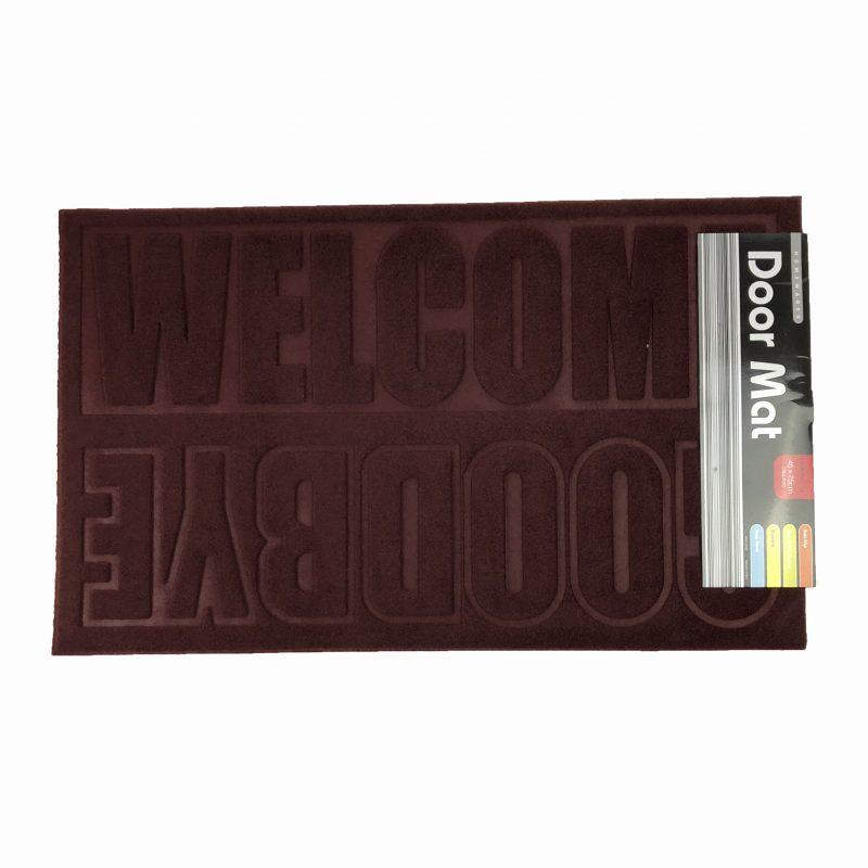 """45 x 75cm Doormat Burgundy """"Welcome Goodbye"""""""