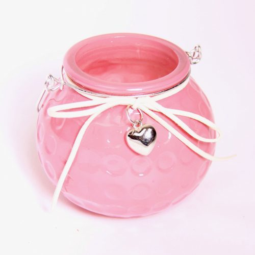 Dimpled Tea Light Holder Pink