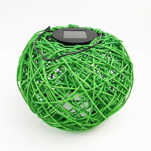 Woven Solar LED Lantern Green