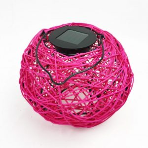 Woven Solar LED Lantern Pink
