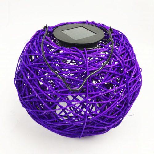 Woven Solar LED Lantern Purple