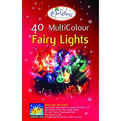 Fairy Lights with Coloured Bulbs Set of 40