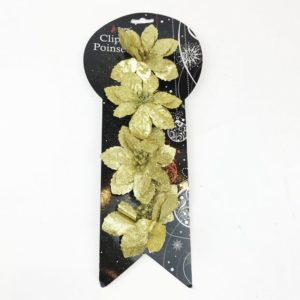 Clip On Poinsettia Pack 4 Gold