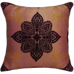 Arthouse Flock With Glitter Cushion Anise Copper 008320