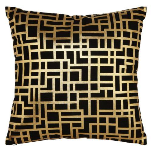 Arthouse Satoni Black And Gold Metallic Cushion/Pillow 004771