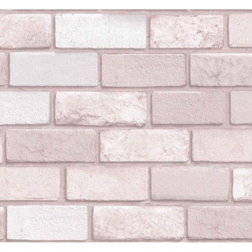 Arthouse Pink Brick Vinyl Wallpaper 260005 A4 Sample