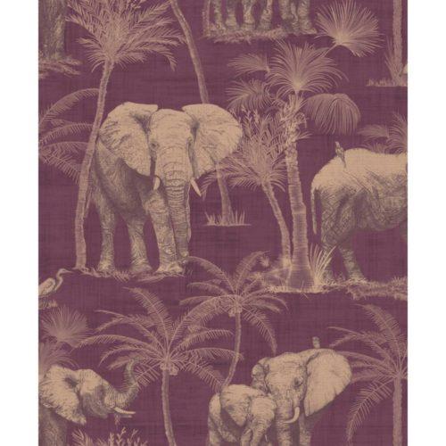 Arthouse  Paste The Wall Wallpaper Elephant Grove Aubergine 610701