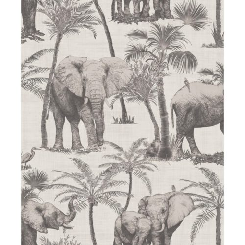 Arthouse  Paste The Wall Wallpaper Elephant Grove Charcoal 610702