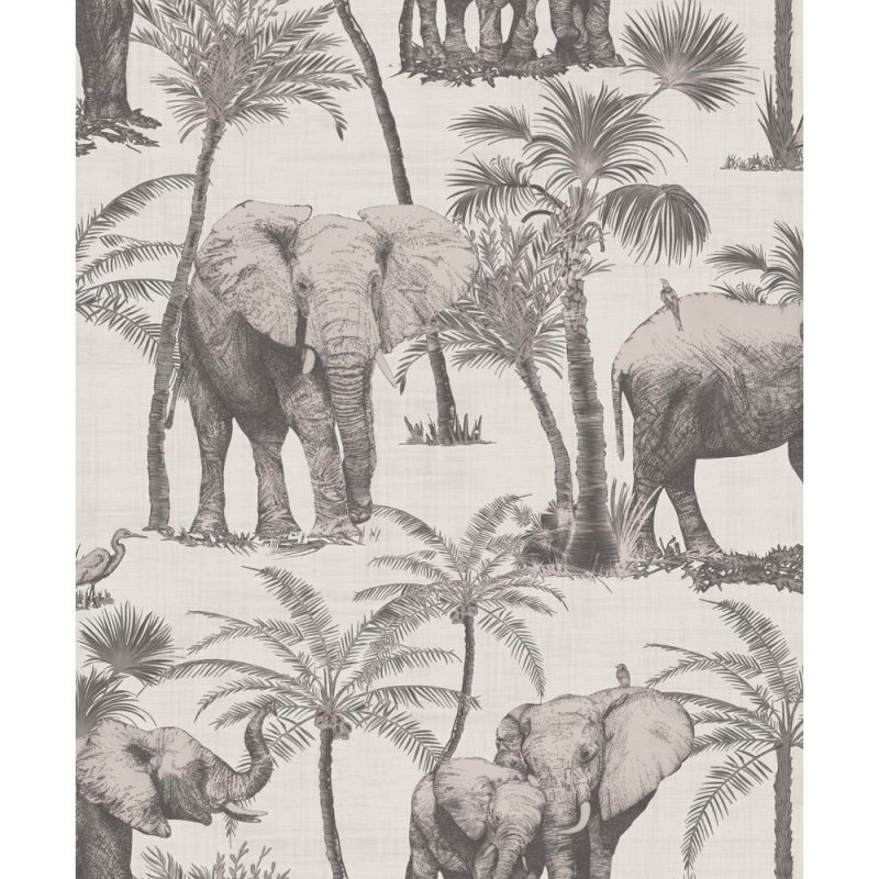 Arthouse Paste The Wall Wallpaper Elephant Grove Charcoal 610702