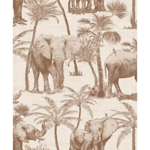Arthouse  Paste The Wall Wallpaper Elephant Grove Coffee 610703