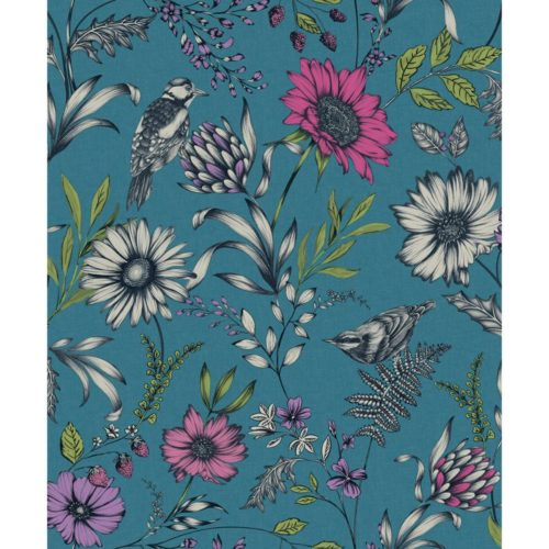 Arthouse  Paste The Paper Wallpaper Botanical Songbird Teal 676001