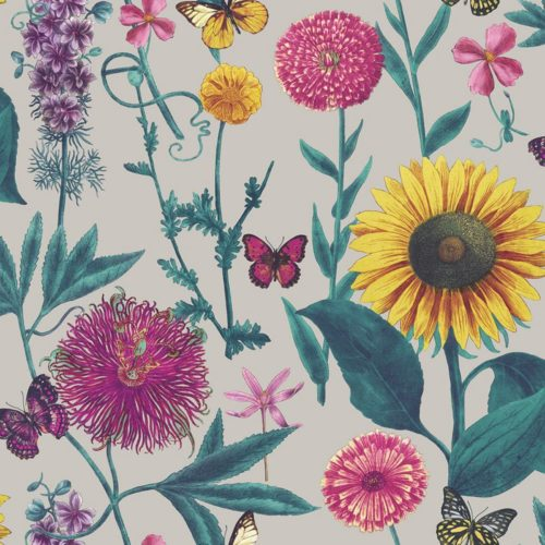 Arthouse  Paste The Paper Wallpaper Summer Garden Grey Multi 676204