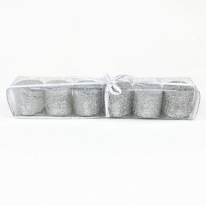 Glitter Candles Pack of 6 Silver