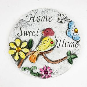 """16cm Round Garden Plaque with Jewels """"Home Sweet Home"""""""