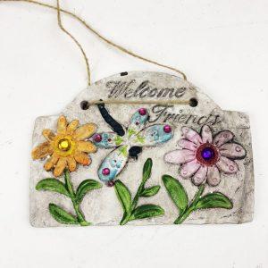 "18cm Garden Plaque with Jewels ""Welcome Friends"""