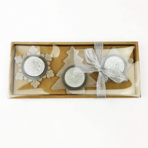 Christmas Shaped Tealight Candle Set and Holders Silver