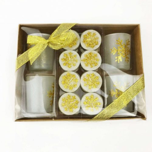 Christmas Tealight Candle Set and Holders Gold