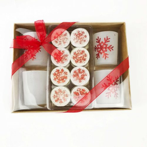 Christmas Tealight Candle Set and Holders Red