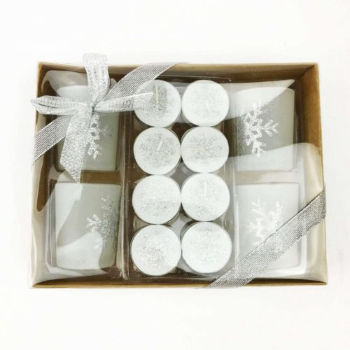 Christmas Tealight Candle Set and Holders Silver