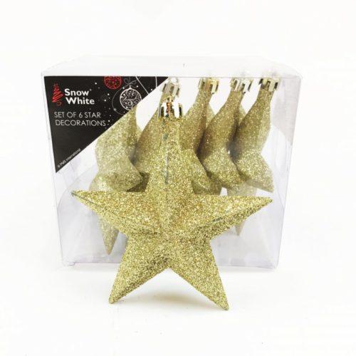 Glitter Christmas Tree Stars Gold