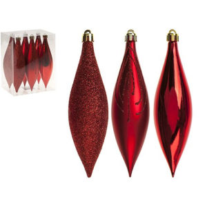 Drop Christmas Tree Baubles Pack of 6 Red
