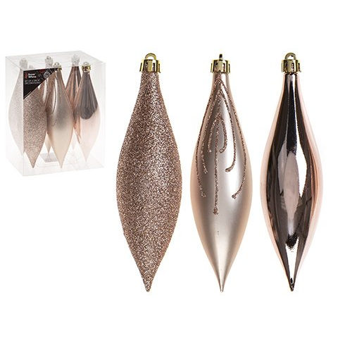 Drop Christmas Tree Baubles Pack of 6 Rose Gold