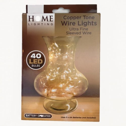 Copper Tone Ultra Fine Wire Lights Pack of 40 Cool White