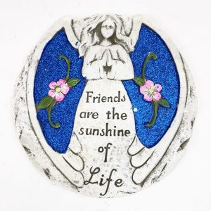 """17cm Glitter Angel Stone Blue """"Friends Are The Sunshine Of Life"""""""