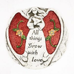 """17cm Glitter Angel Stone Red """"All Things Grow With Love"""""""