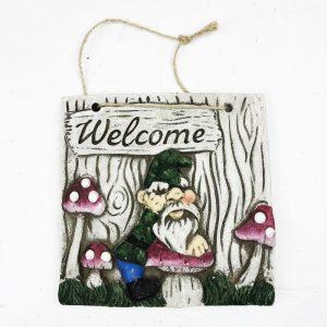16cm Gnome Welcome Garden Plaque Green