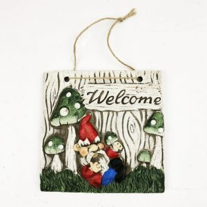 16cm Gnome Welcome Garden Plaque Red