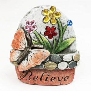 "14cm Butterfly Garden Stone with Jewels ""Believe"""
