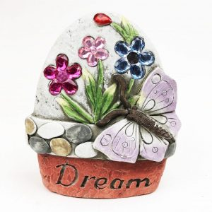 """14cm Butterfly Garden Stone with Jewels """"Dream"""""""
