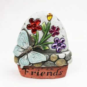 """14cm Butterfly Garden Stone with Jewels """"Friends"""""""