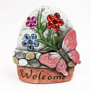 """14cm Butterfly Garden Stone with Jewels """"Welcome"""""""