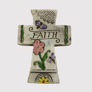 """13cm Floral Cross Plaque """"Faith"""""""