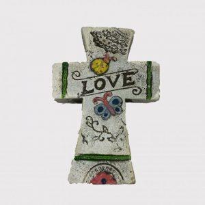 """13cm Floral Cross Plaque """"Love"""""""