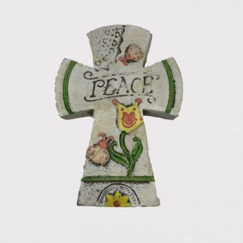"""13cm Floral Cross Plaque """"Peace"""""""
