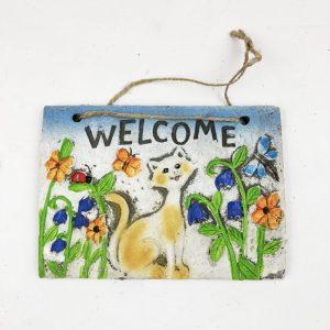 16cm Animal Welcome Garden Plaque Cat