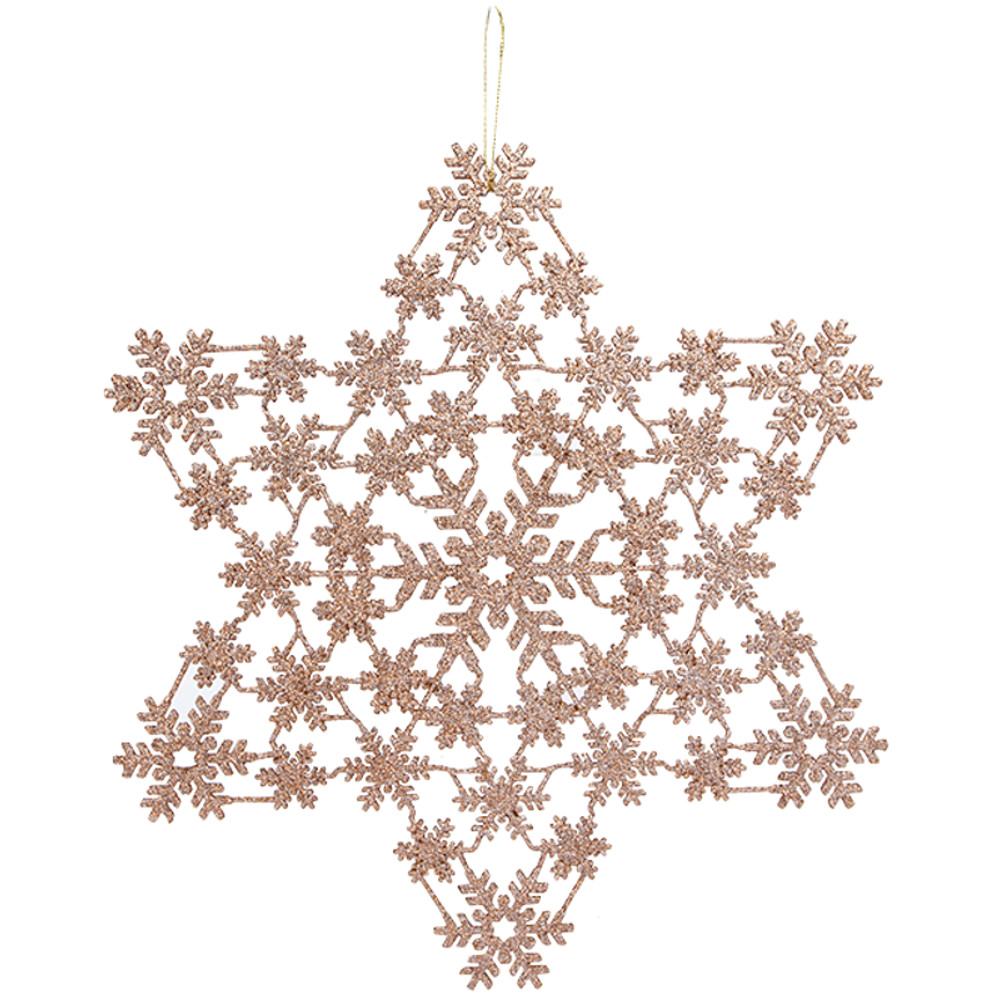 Hanging Glitter Snowflake 32cm Rose Gold