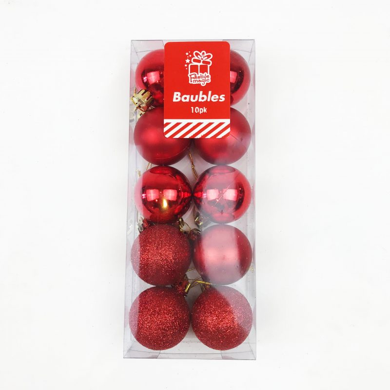 Christmas Tree Baubles Pack of 10 Red