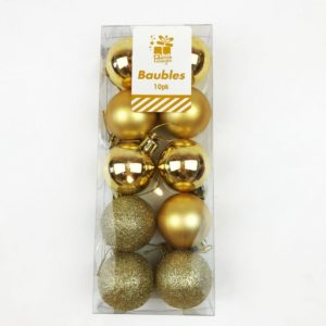 Christmas Tree Baubles Pack of 10 Gold