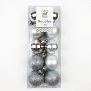Christmas Tree Baubles Pack of 10 Silver